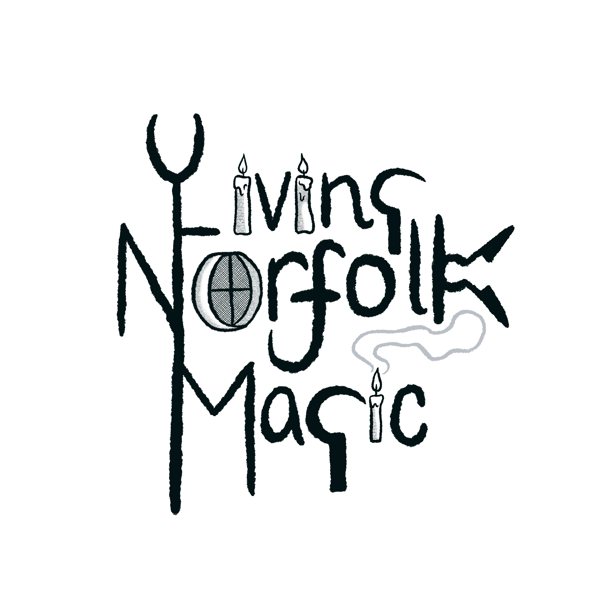 The logo for the Living Norfolk Magic Project, with agricultural tools, forming a link to its Instagram page.